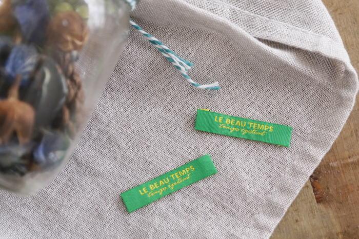 ばら刺繍タグ‐TEMPS(緑色×黄)